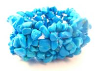 Blue Howlite Stretch Bead Bracelet.